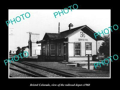 OLD LARGE HISTORIC PHOTO OF BRISTOL COLORADO, THE RAILROAD DEPOT STATION c1960