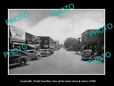 OLD LARGE HISTORIC PHOTO OF LEAKSVILLE NORTH CAROLINA, THE MAIN St & STORES 1940