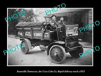 OLD LARGE HISTORIC PHOTO OF KNOXVILLE TENNESSEE, THE COCA COLA RAPID TRUCK c1915
