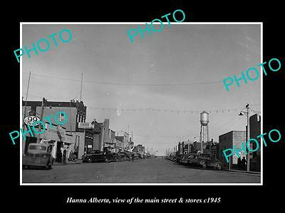 OLD LARGE HISTORIC PHOTO OF HANNA ALBERTA CANADA, THE MAIN St & STORES c1945