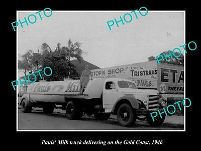 OLD LARGE HISTORIC PHOTO OF PAULS MILK DELIVERY TRUCK, THE GOLD COAST c1946 QLD