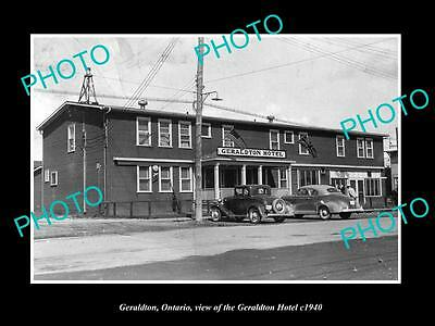 OLD LARGE HISTORIC PHOTO OF GERALDTON ONTARIO, VIEW OF THE GERALDTON HOTEL c1940