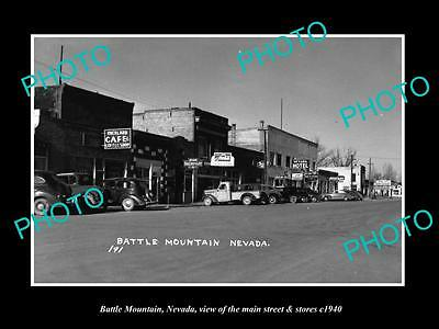 OLD LARGE HISTORIC PHOTO OF BATTLE MOUNTAIN NEVADA, THE MAIN St & STORES c1940 1
