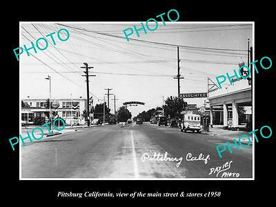 OLD LARGE HISTORIC PHOTO OF PITTSBURG CALIFORNIA, THE MAIN St & STORES c1950