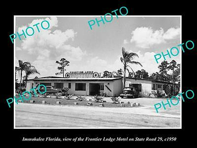 OLD LARGE HISTORIC PHOTO OF IMMOKALEE FLORIDA, THE FRONTIER LODGE MOTEL c1950