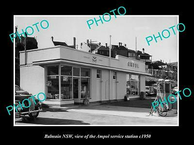 OLD LARGE HISTORIC PHOTO OF BALMAIN NSW, AMPOL OIL Co SERVICE STATION c1950