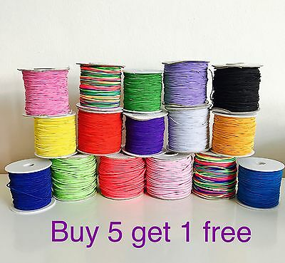 1mm 2mm Elastic Nylon Cord 1M- 10M  great for sewing, craft or jewellery making