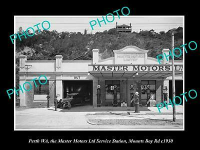 OLD LARGE HISTORIC PHOTO OF PERTH WA, THE MASTERS MOTORS SERVICE STATION c1930