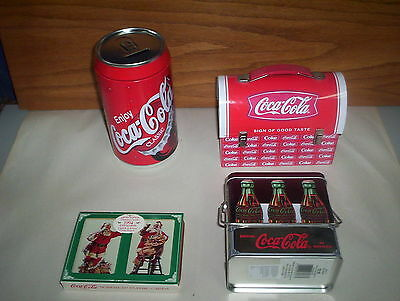 """4 Coca-Cola Collectables Lot: Coke Playing Cards 1994 Santa + 8"""" Tin & Lunchbox"""
