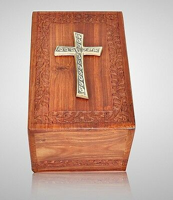Solid Rosewood Cremation Urn with Brass Cross, Adult, - Human Ashes