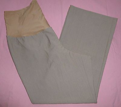 NEW Duo Maternity L Large 2X 3X Career Stretch Trouser Pants Overbelly Beige