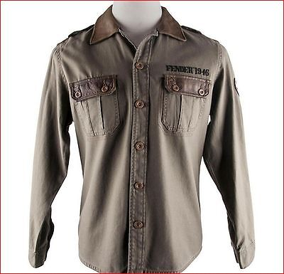 "Fender Army Style Shirt Jacket Size Medium / 46"" Chest - Gift Idea Guitar Player"