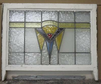 "EDWARDIAN ENGLISH LEADED STAINED GLASS  SASH WINDOW Geometric 28.25"" x 19.75"""