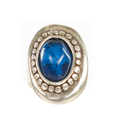 Handmade Blue Resin Large Oval Band Ring (Ring3)