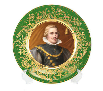 Royal Vienna Porcelain Hand Painted Cabinet Plate King Philipp IV of Spain c1900