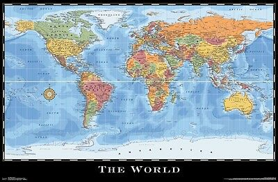 THE WORLD - COLOR MAP POSTER 22x34 - GEOGRAPHY USA 15214