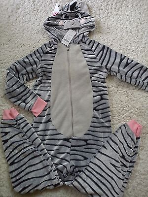 Amazing Warm Autumn Winter Zebra Girl Pyjama Onsie 10/11 Yrs