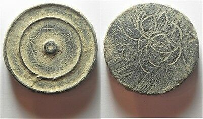 ZURQIEH -aa3946- INTERESTING WEIGHT: BYZANTINE. AE 2 uncia (?) disk weight (40 x
