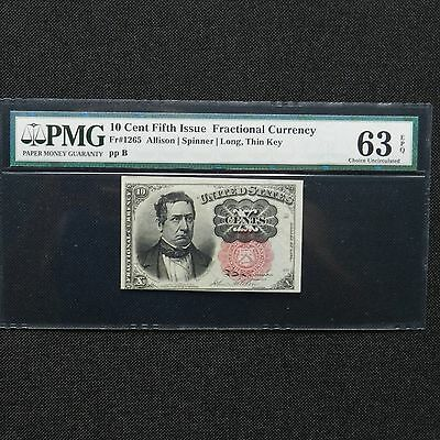 10 Cent Fifth Issue Fractional Currency,Fr #1265, Long, Thin Key, PMG 63 EPQ