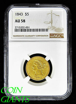 1843 Five Dollar Gold NGC AU 58 Half Eagle $5 Liberty Head Early Key Date Coin