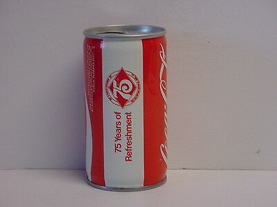 Coca-Cola Crimped Steel Pull Tab Top Opened Soda Can 75 Years Mobile Alabama