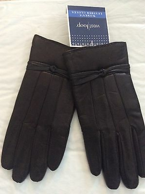 NEW NWT West Loop Women's Black Leather Gloves Polyester Lining