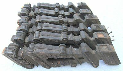 6 Large Antique Architectural Salvage Ornate Carved Wood Stair Balusters Parts