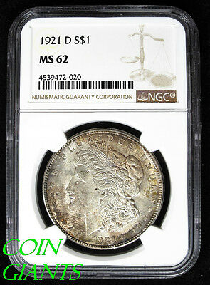 1921-D S$1 Morgan Silver Dollar NGC MS 62 Brilliant Uncirculated BU Toned Coin