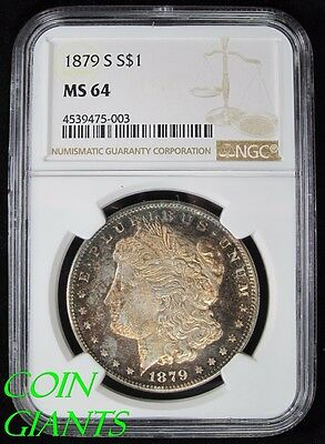 1879-S S$1 Morgan Silver Dollar NGC MS 64 Uncirculated Toned Proof Like PL
