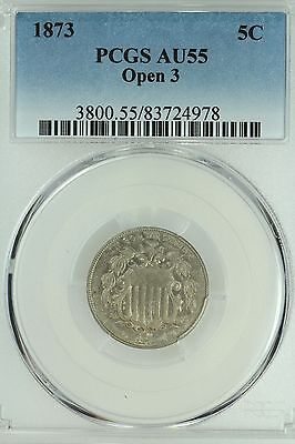 1873 Shield Nickel! Pcgs Au55! Open 3! 5C! Us Coin Lot #3424