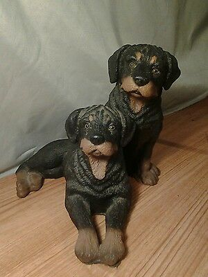 Rottweiler sitting and laying Dogs Figurine Statue Resin Pet  Canine , nice