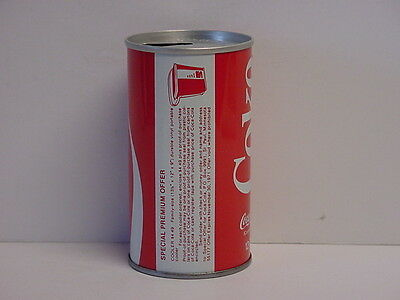 Vintage Coca-Cola Straight Steel Pull Tab Top Opened Soda Can Vinyl Cooler Offer