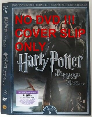 No Discs !! Harry Potter 6 Dvd Cover Slip Only - No Discs !!       (Inv13316)