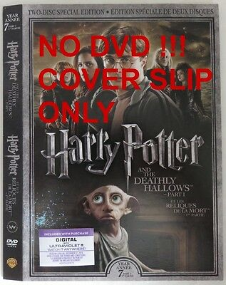 No Discs !! Harry Potter 7 Pt. 1 Dvd Cover Slip Only - No Discs !!   (Inv13315)