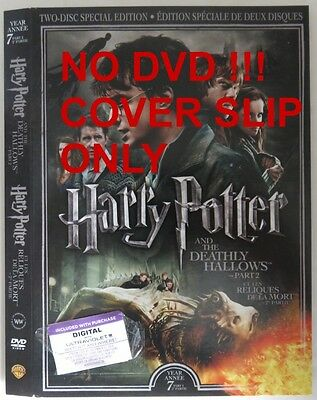 No Discs !! Harry Potter 7 Pt. 2 Dvd Cover Slip Only - No Discs !!   (Inv13319)