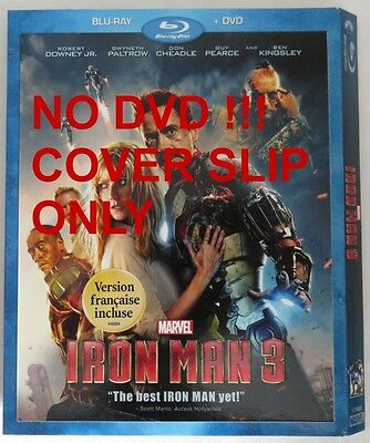No Discs !! Iron Man 3 Blu-Ray Cover Slip Only - No Discs !!         (Inv13312)