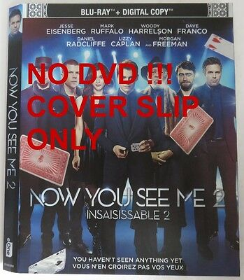 No Discs !! Now You See Me 2 Blu-Ray Cover Slip Only - No Discs !!    (Inv13326)