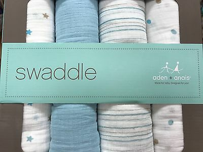 New Aden + Anais Blue White Swaddle and Baby Blanket 4 Pack Boxed Gift Set Boy