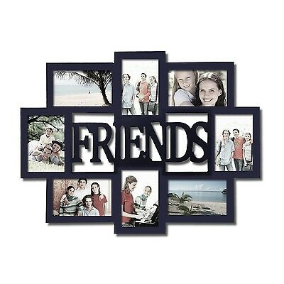 Adeco 8 Opening 4x6 Black Wood Friends Wall Collage Picture Photo