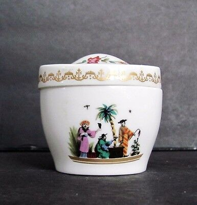 Vintage Royal Worcester England Hand Painted Oval Trinket Box Chinese Design