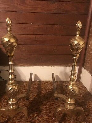 Vintage Set Of Cast Iron & Brass Fireplace Andirons Fire Dogs Mid Century Modern