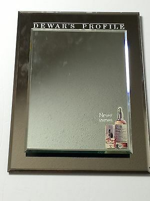 Vintage Dewar's Blended Scotch Whiskey Glass Bar Advertisement Mirror Sign