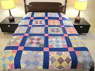 FULL Vintage Hand Set, All Cotton (Some FEED SACK) NINE PATCH on TIP Quilt TOP