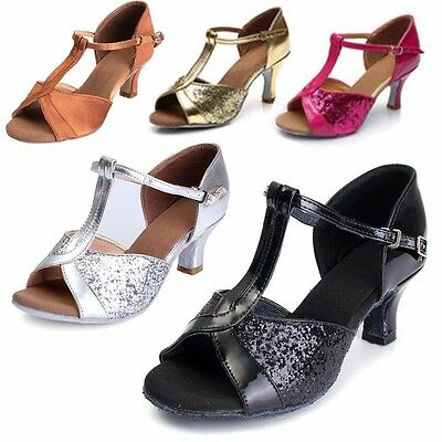 UK Women's Ballroom Latin Tango Dance Shoes Heeled Salsa Party Shoes 3 Colors SZ