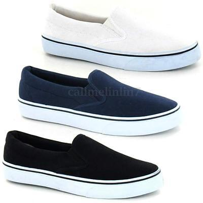 Men Plimsolls Trainers Pumps Sneake Mens Slip On Canvas Espadrilles  Shoes Size