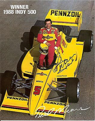 1988 RICK MEARS signed POST INDIANAPOLIS 500 HERO PHOTO CARD PENNZOIL INDY CAR