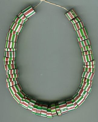 African Trade beads Vintage Venetian glass 4 layer striped chevrons old