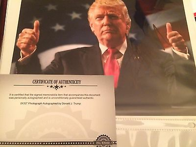 President Donald J Trump, autographed 8x10 photo hand signed authentic COA