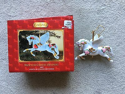 Breyer Christmas Holiday Horse Ornament #700607 Snowstar Carousel 2007 Box