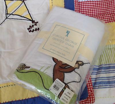 New NWT Pottery Barn Kids Curious George quilted pillow sham